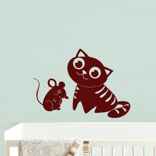 Wall Decal Vinyl Decal Sticker Bedroom Decal Cat with Mouse Nursery Kids Baby  z528