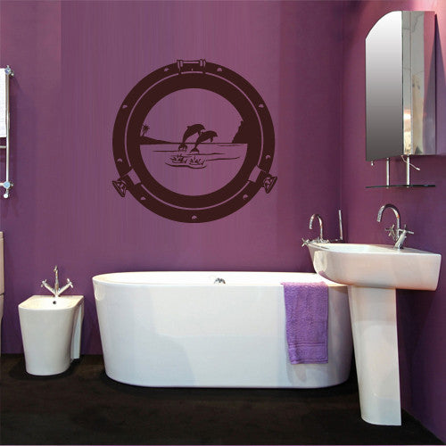 Wall Decal Vinyl Decal Sticker Decal Porthole Illuminator Dolphins Ocean  z534