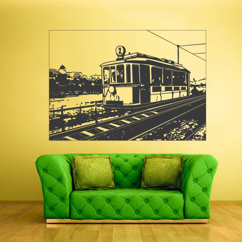 Wall Decal Vinyl Decal Sticker Bedroom Train Picture City Tram Town Modern  z537