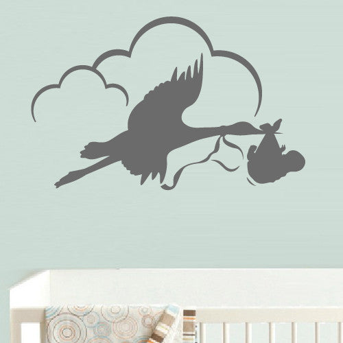 Wall Decal Vinyl Decal Sticker Bedroom Stork with Baby Clouds Nursery Kids Baby z538