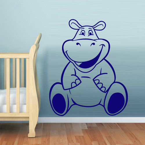 Wall Decal Vinyl Decal Sticker Hippopotamus Behemoth Funny Nursery Kids Baby  z543