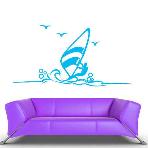 Wall Decal Vinyl Decal Sticker Bedroom Decal Wind Surfer Ocean Sea Funny  z551
