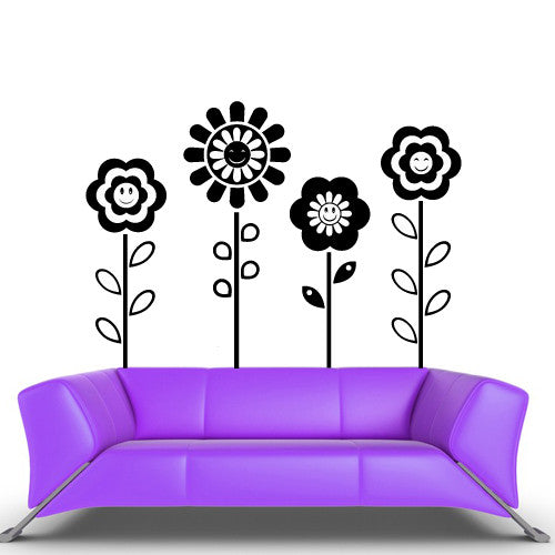 Wall Vinyl Decal Sticker Bedroom Decal Flowers Modern Decal Fashion Flowers  z557