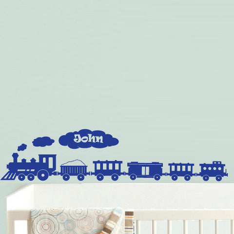 Wall Decal Decal Sticker Nursery Kids Baby Custom Name Words Cloud Train Boy  z605