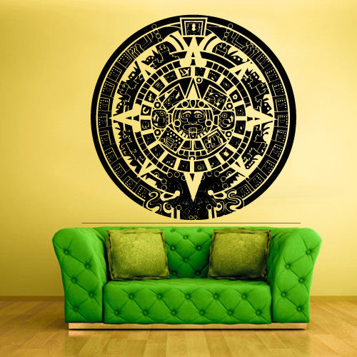 Wall Decal Decal Sticker Bedroom Decals Maya Calendar Ethnical Symbol Circle  z606