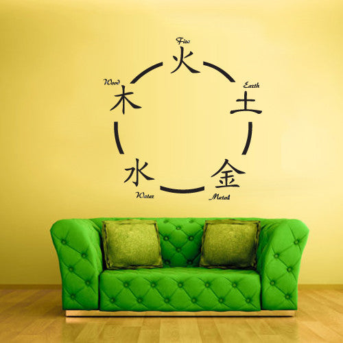 Wall Vinyl Decal Sticker Bedroom Japan China Symbols Fire Water Earth Metal  z629