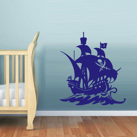 Wall Decal Vinyl Decal Sticker Bedroom Nursery Kids Baby Ship Ocean Sea Pirate z630