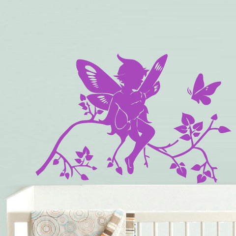 Wall Decal Decal Sticker Nursery Kids Baby Flowers Tree Magic Butterfly Boy  z633
