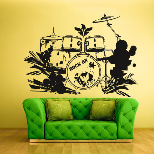 Wall Vinyl Decal Sticker Bedroom Decal Drum Instruments Music  z636
