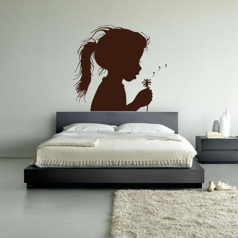 Wall Decal Vinyl Decal Sticker Nursery Kids Baby Flower Girl Blowball Dandelion z746