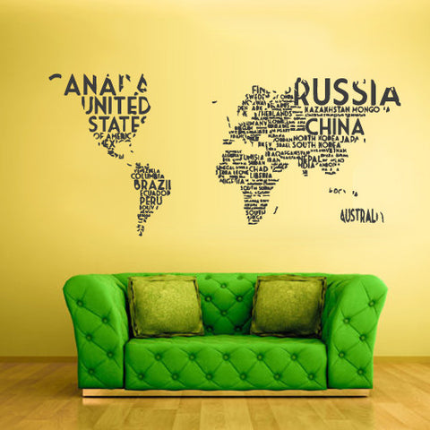 Wall Vinyl Decal Sticker Bedroom Decal World Map Country Words Quotes  z811