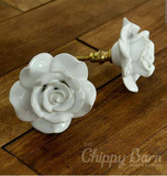 Large White Ceramic Rose Knob - The Chippy Barn
