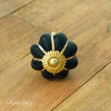 Black Ceramic Flower Knob with Gold Detailing - The Chippy Barn
