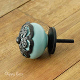 Blue Ceramic Knob with Fancy Metal Face Detailing - The Chippy Barn