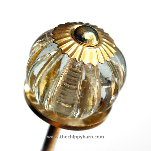 Beveled Glass Knob with Gold Accents - The Chippy Barn