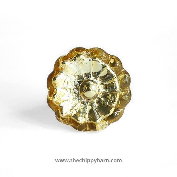 Gold Depressed Crackled Glass Flower Knob - The Chippy Barn