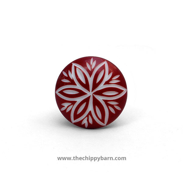 Red Engraved Resin Knob - The Chippy Barn