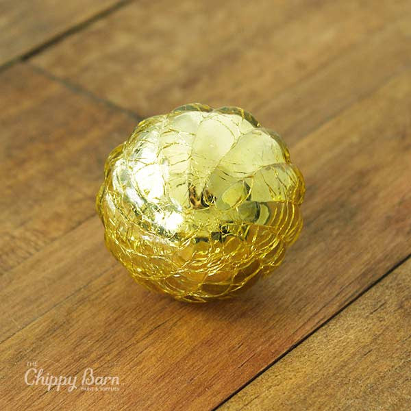 Large Gold Crackled Beveled Glass Knob - The Chippy Barn