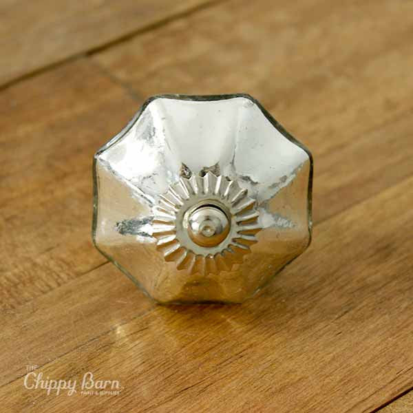 Silver Mercury Glass Octagon Knob - The Chippy Barn