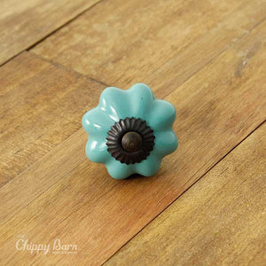 Teal Ceramic Flower Knob with Dark Metal - The Chippy Barn