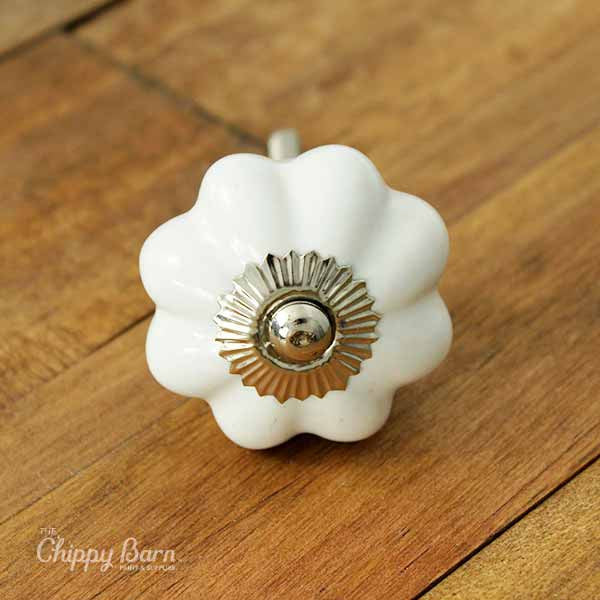 White Ceramic Flower Knob with Silver Metal Accents - The Chippy Barn