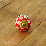 Red, White and Black Ceramic Knob with Gold Accents - The Chippy Barn