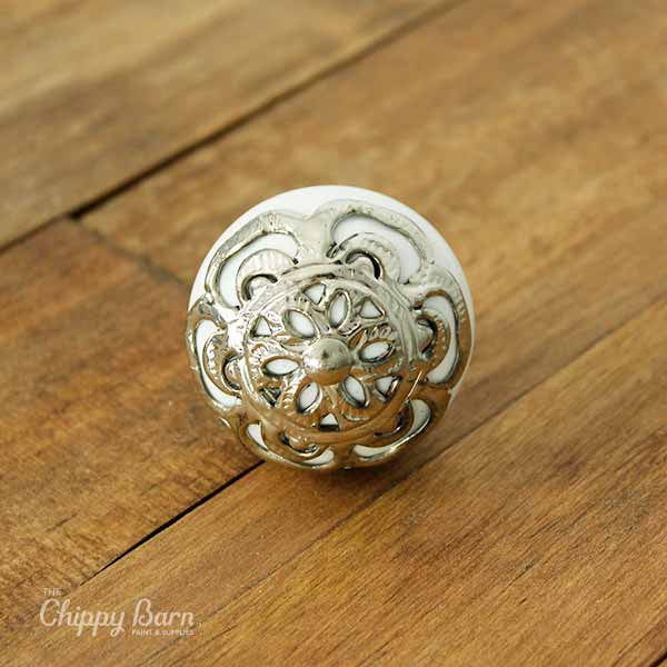 White Ceramic Round Knob with Silver Metal Faceplate - The Chippy Barn