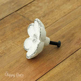 White Cast Iron Flower Knob - The Chippy Barn