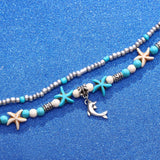 Multi-Layers Starfish Dolphin Beads Anklets