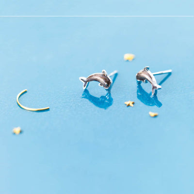 Sterling Silve Dolphin Stud Earrings