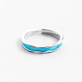 Couples Blue Ocean Wave Ring for Men & Women