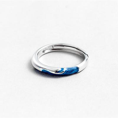 Couples Blue Wave Ring for Men & Women