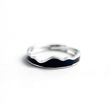 Couples Silver & Black Wave Ring for Men & Women