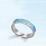 Couples Whale Tail Blue Ocean Wave Ring for Men & Women