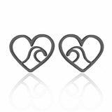 Ocean Wave Stud Earrings Heart Shaped