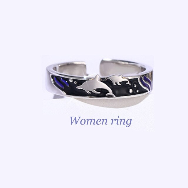 Couples Love Dolphin & Ocean Wave Ring for Men & Women