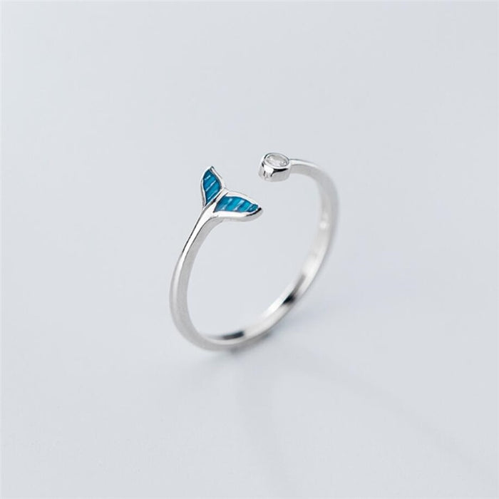 Resizable Blue Whale Tail Ring