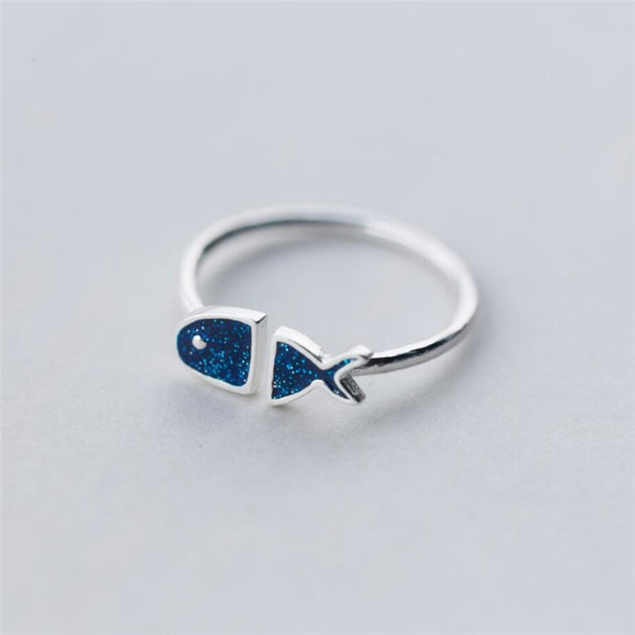 Blue Fish 925 Sterling Silver Ring
