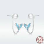 Blue Mermaid's Tail Stud Earrings