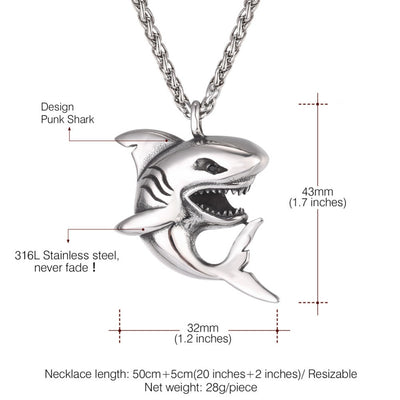 Stainless Steel Shark Pendant Necklace