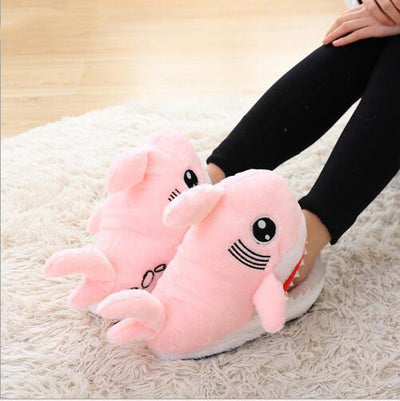 Shark Shape Furry Slippers