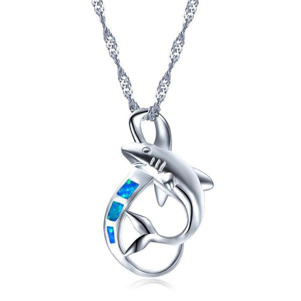 Sterling Silver Necklace with Blue/White Opal Shark Pendant