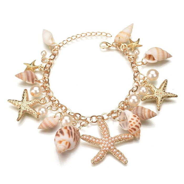Ocean Sea Shell & Starfish Faux Pearl Bracelet