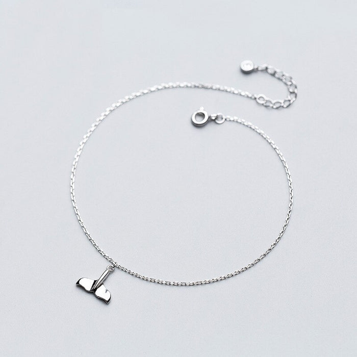 Whale Tail Silver Anklet