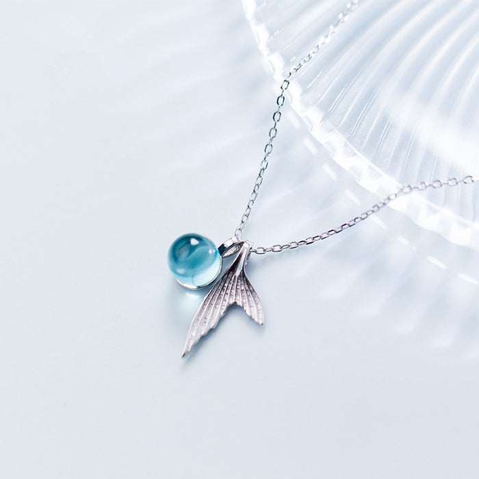 MERMAID'S TAIL & TEAR BLUE PENDANT NECKLACE