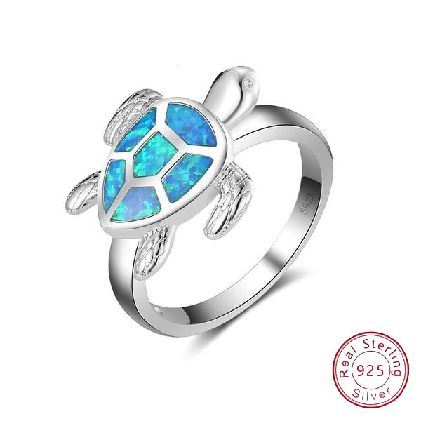 Blue Opal Sea Turtle Ring