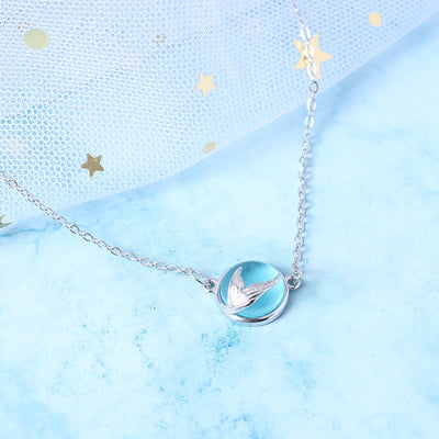 MERMAID'S TAIL BLUE PENDANT NECKLACE