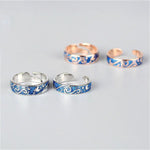 Couples Silver & Rose Gold Rings with Ocean Waves for Men & Women