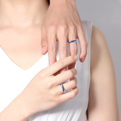 Couples Love Dark Blue & Silver Ocean Wave Ring for Men & Women