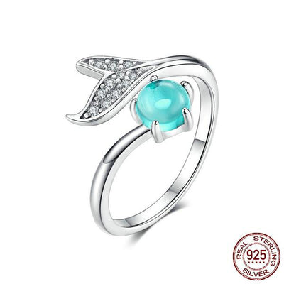 Mermaid's Tail Ring with Blue Ocean Stone